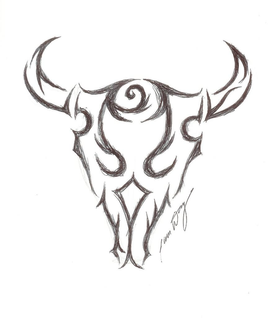 Drawn bull tribal Designs Tattoo Tribal Bull Tattoo