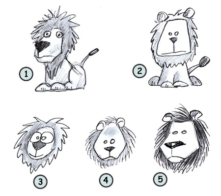 Drawn simple lion Lion to a How Cartoon