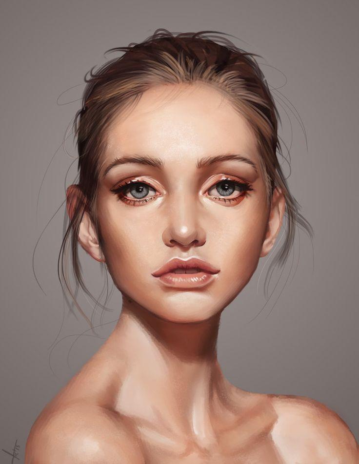 Drawn portrait digital 20+ face Lozada Pinterest female