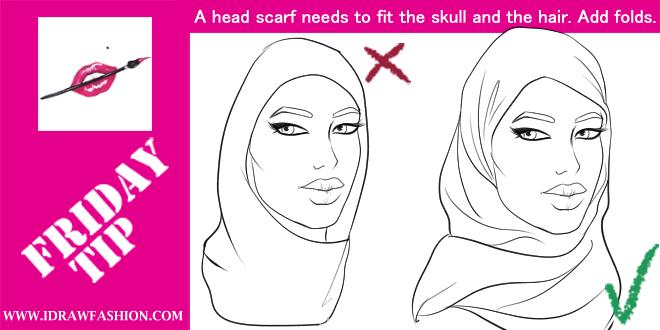 Drawn scarf head scarf A I Fashion draw FRIDAY