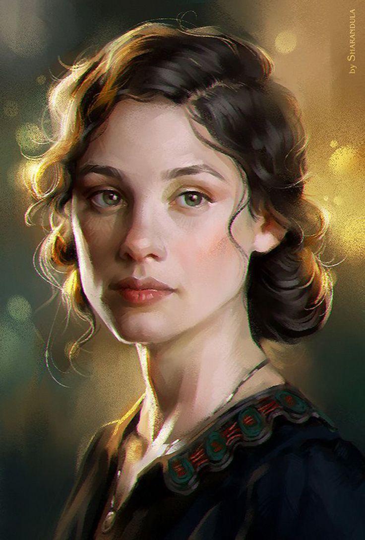 Drawn portrait digital illustration 3/4 Pinterest Face on best