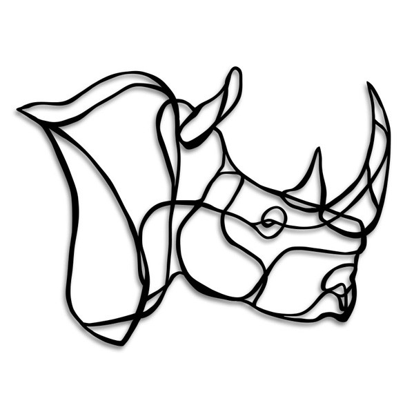 Drawn rhino rhino head 2 set Rhinos decor wall