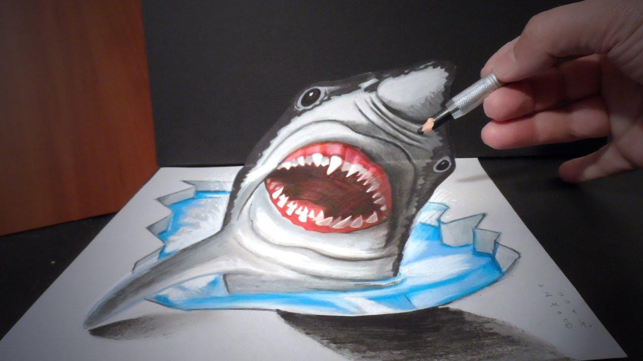 Drawn shark trick 3D a YouTube I