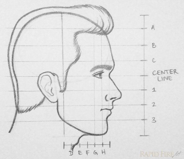 Drawn profile hairline A a hair the side