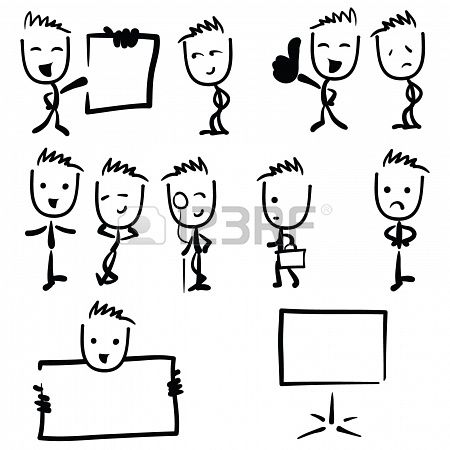 Drawn head stick Stock Art Photo people images