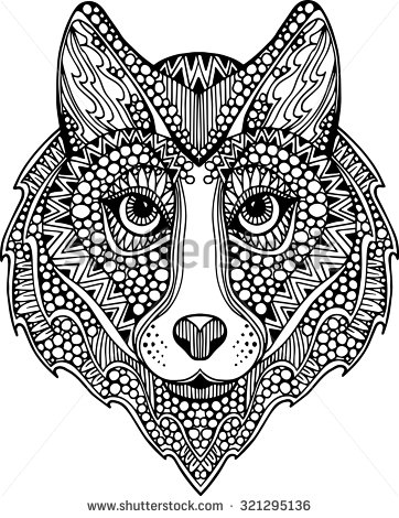 Drawn decoration ornate Wolf drawn Hand  decorated