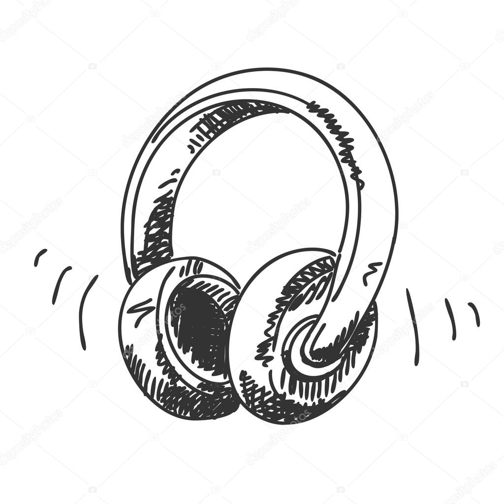 Drawn headphone © drawn headphone Stock Hand