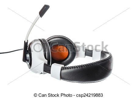Drawn headphones computer microphone Headphones  with view Illustration