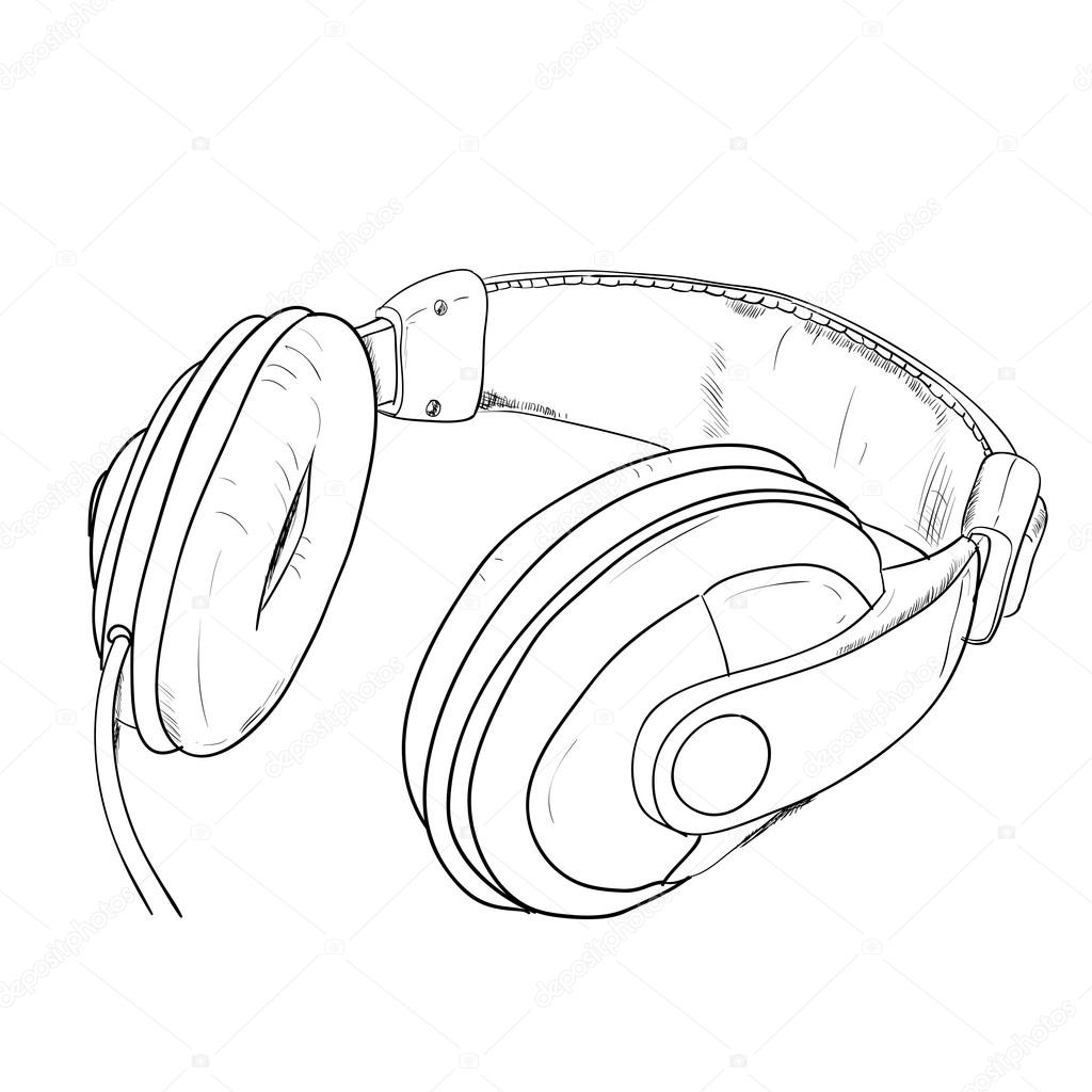 Drawn headphones Vector Stock Vector Hand Hand