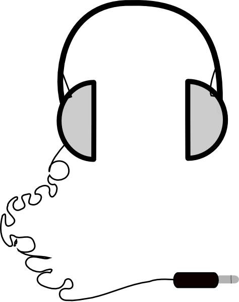 Drawn headphones line art This Art com online Clker