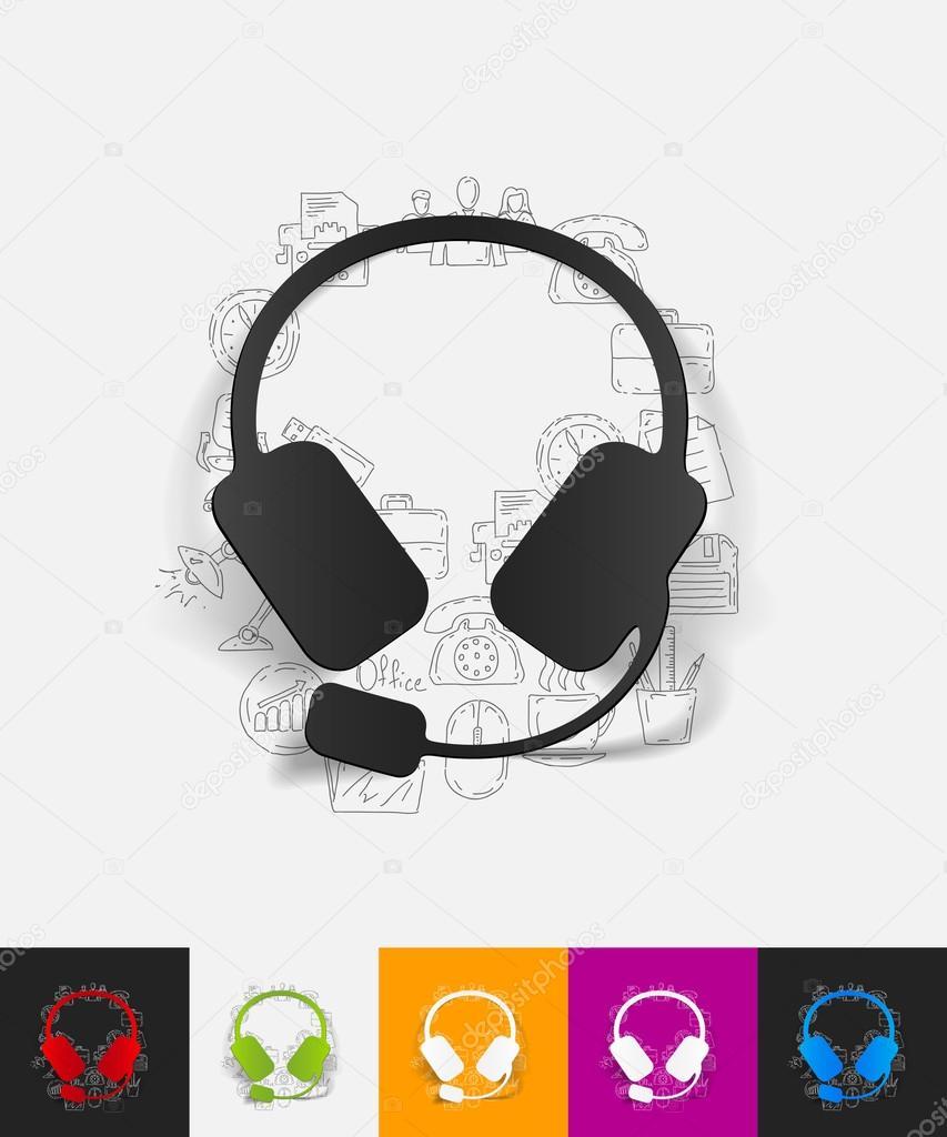 Drawn headphones simple — with sticker Palau83 Stock