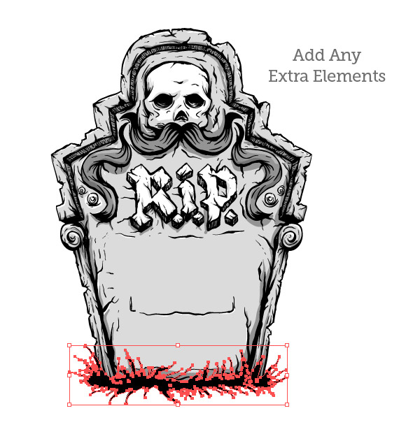 Drawn tombstone gravestone Sides design sides Tombstone neck