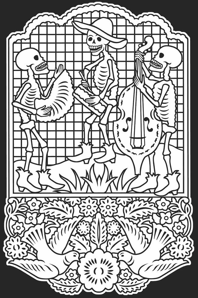 Day Of The Dead clipart coloring sheet De Dia Pinterest muertos about