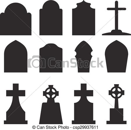 Drawn tombstone Set of  in silhouette