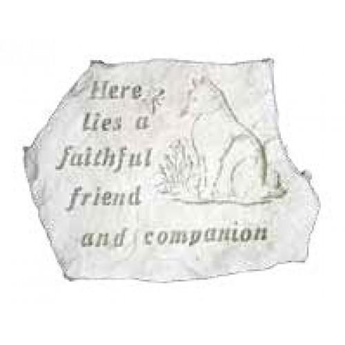Drawn headstone here lies Friend Companion