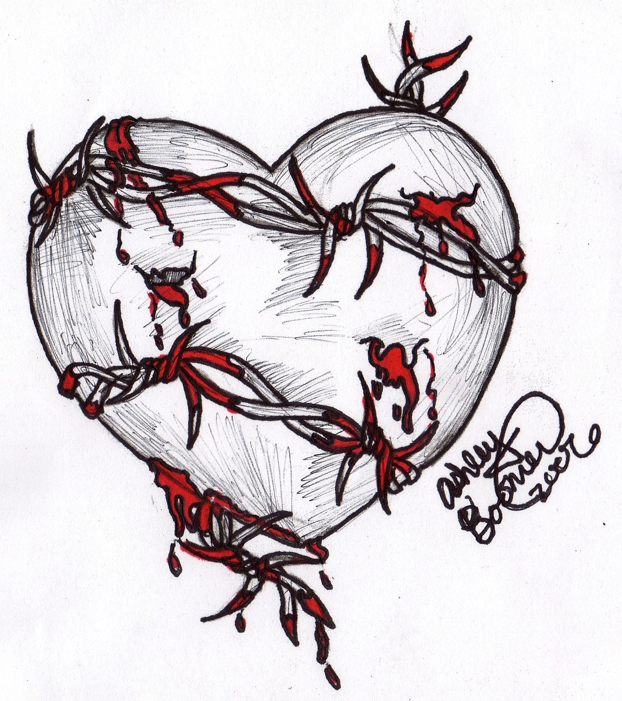 Drawn hearts barbed wire Barbed Barbed Boomboom34 by Heart