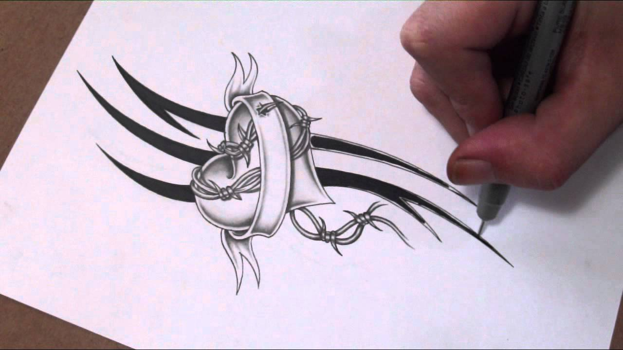 Drawn hearts barbed wire Shading Shading Banner and Wire