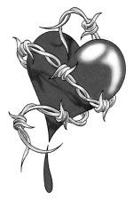 Drawn hearts barbed wire Herz Barbed Girls on de