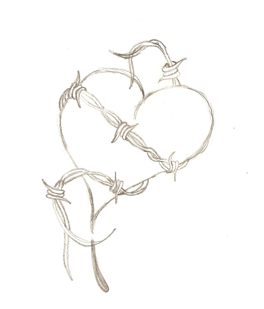 Drawn hearts barbed wire 9drawings Showing For Heart Wire