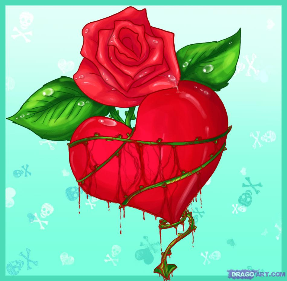 Drawn red rose bleeding love By Pop a Heart thorned