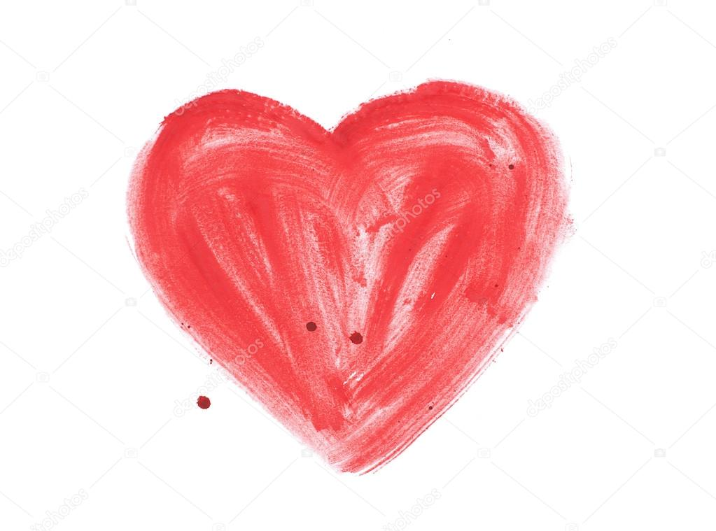 Drawn heart blood Colorful — Stock paint splatter