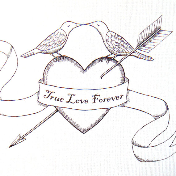 Drawn heart bow and arrow A print of  a