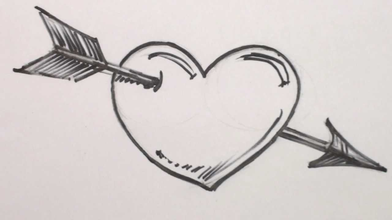 Drawn heart bow and arrow With with Clip  Draw