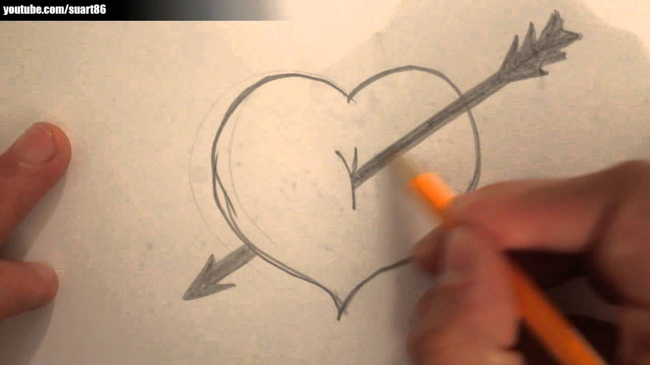 Drawn heart bow and arrow A with arrow draw draw