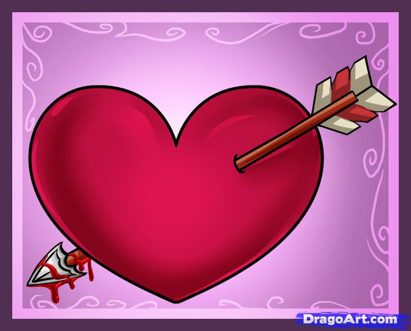 Drawn heart bow and arrow With with by draw Heart