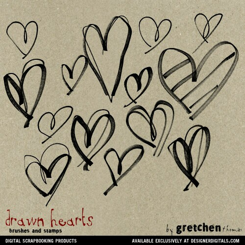 Drawn hearts brush Stamps and  Brushes Hearts