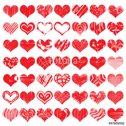 Drawn hearts color In Hand collection  and