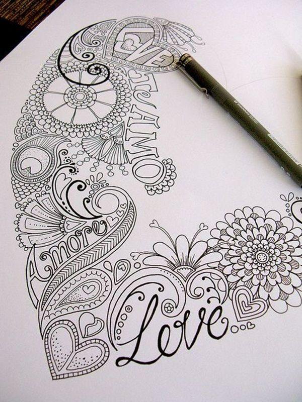 Drawn hearts doodle art #1