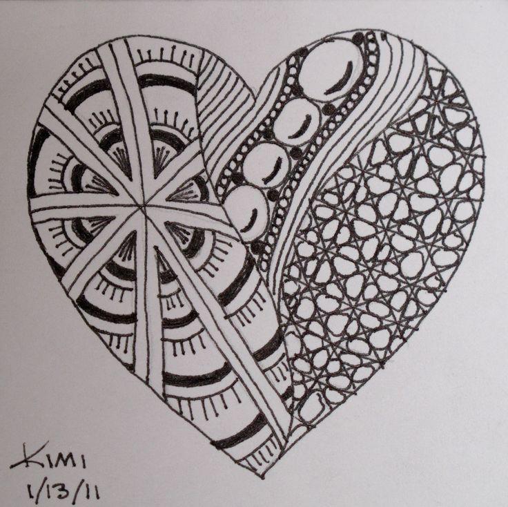 Drawn hearts doodle art #2