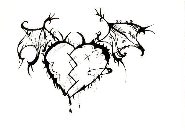 Drawn heart emo Images Emo Drawing Art Pencil