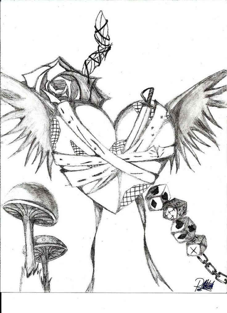Drawn heart emo 80 Random images Drawings drawing