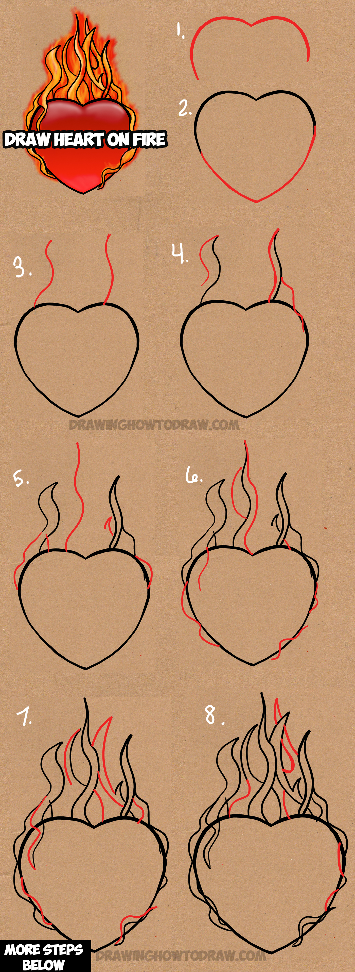 Drawn rose heart on fire Is a Flames Lesson draw