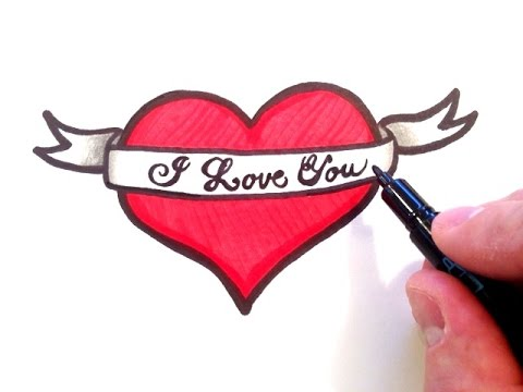 Drawn ribbon heart banner YouTube Art With Ribbon Heart