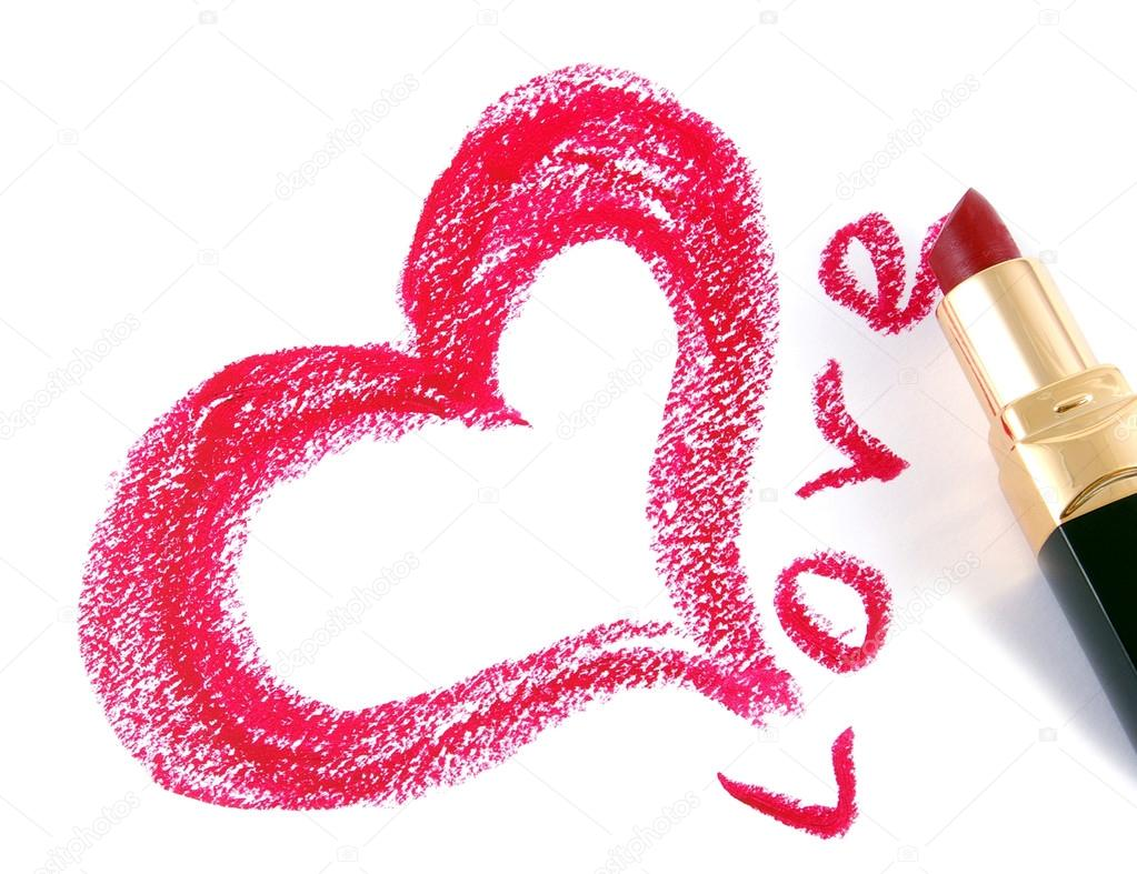 Drawn heart lipstick — — Heart Drawn redtc