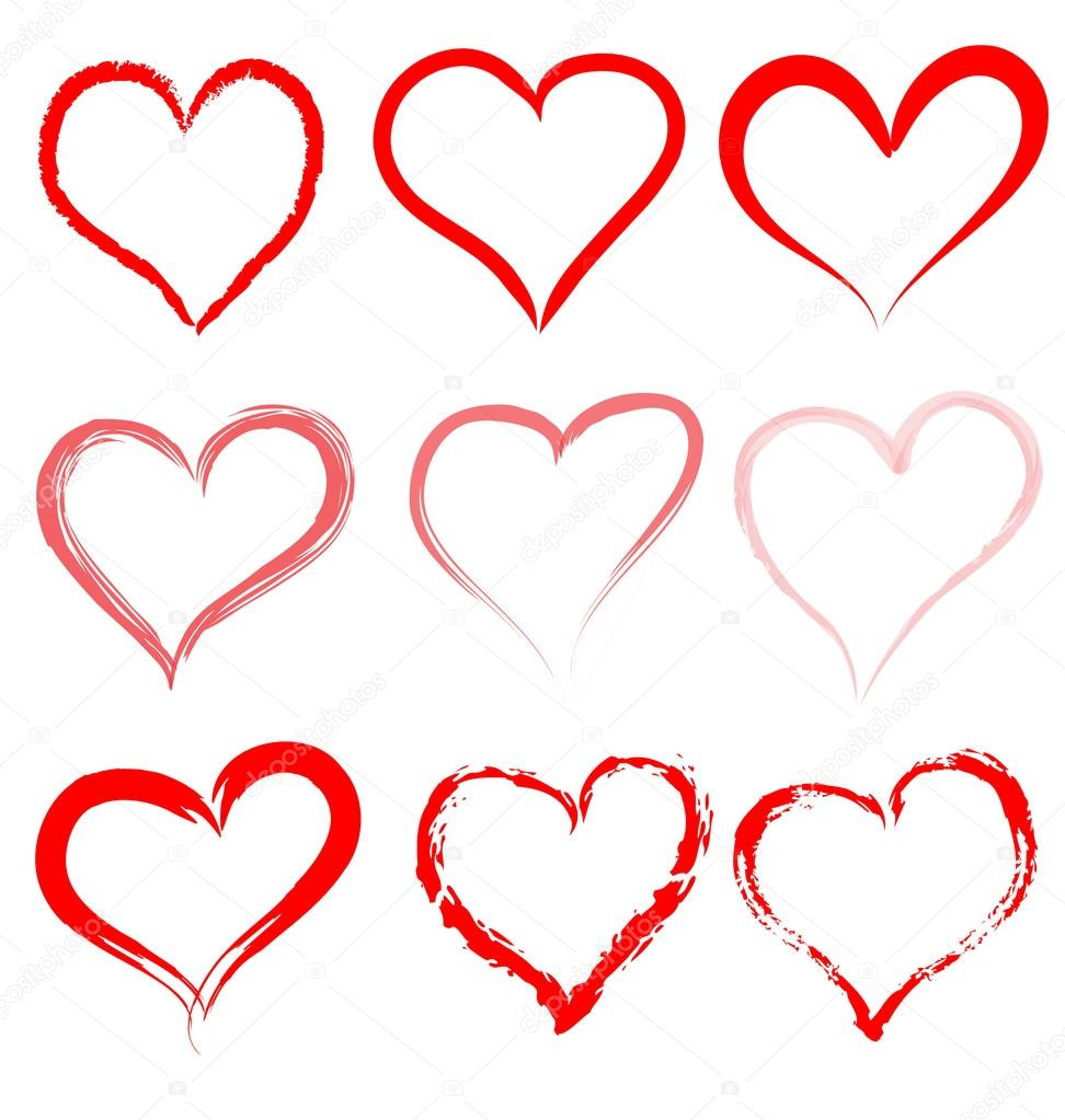 Drawn hearts outline Shape hearts artistic Heart drawn