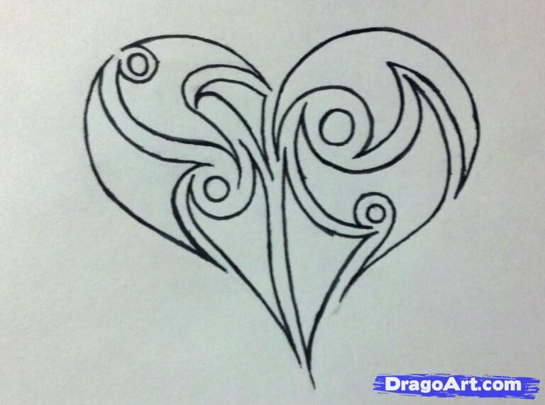 Drawn hearts pencil drawing Tribal a Hand draw step