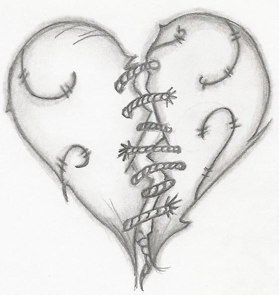 Drawn hearts wounded heart Emokid711 DeviantArt tattoos Pinterest Stitched