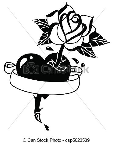 Drawn rose rose banner Tattoo Vectors and Hand Tattoo