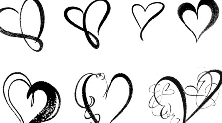 Drawn hearts simple Art on Photoshop  Clip