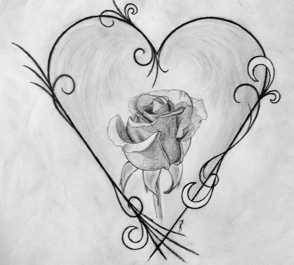 Drawn rose love heart Heart 10+ for Inspiration Drawings