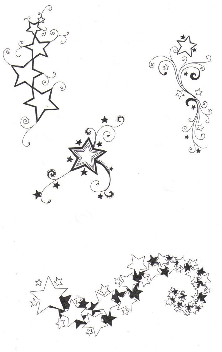 Drawn heart star Hearts on sketches and of