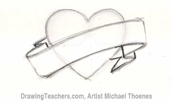Drawn ribbon pencil drawing Banner to ART/Basic art &
