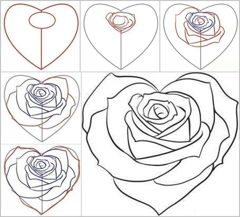 Drawn rose love heart How Facebook How Rose from