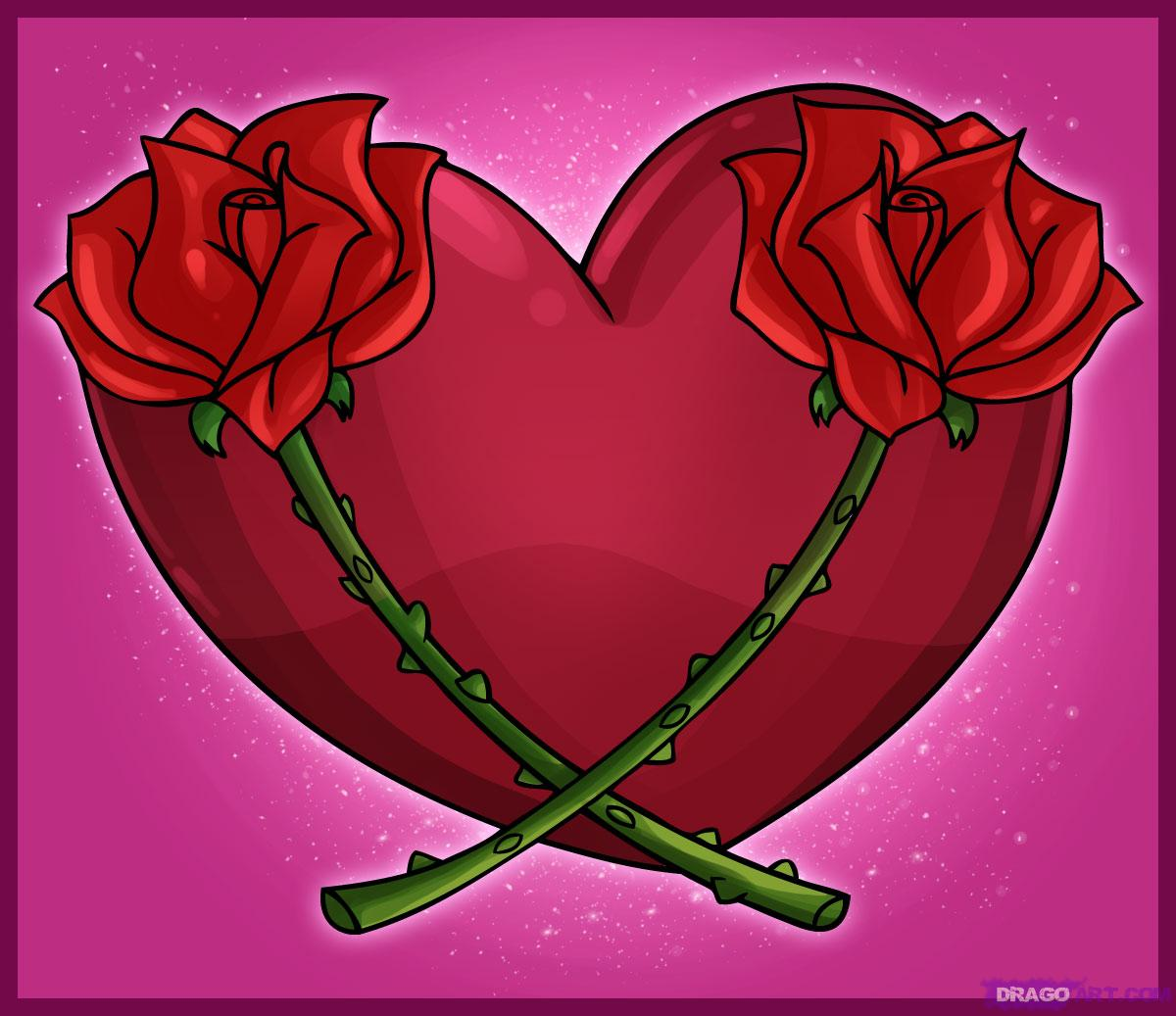 Drawn red rose cartoon A to Pop Heart with