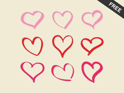 Drawn hearts pink 9 Vede Freebie 9 Emanuel
