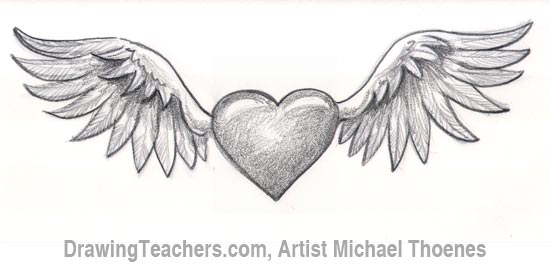 Drawn hearts wing 7 Draw How Wings a